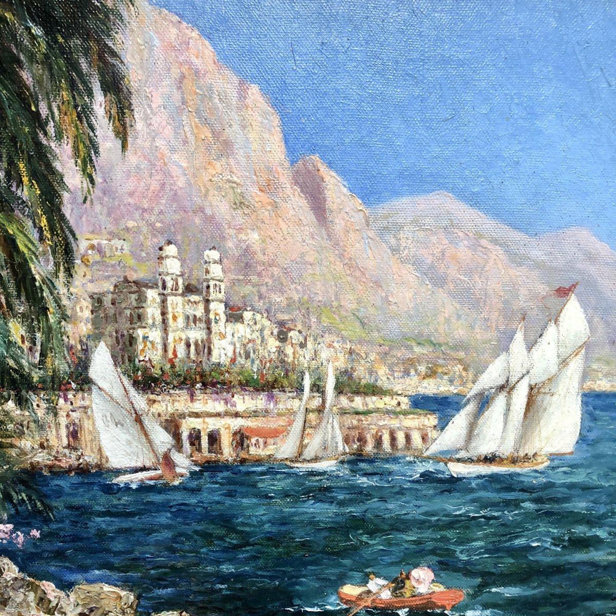Charles Cousin 1904-1972 Large Oil Regattas In Monte-carlo Monaco Riviera Exhibition Medalist