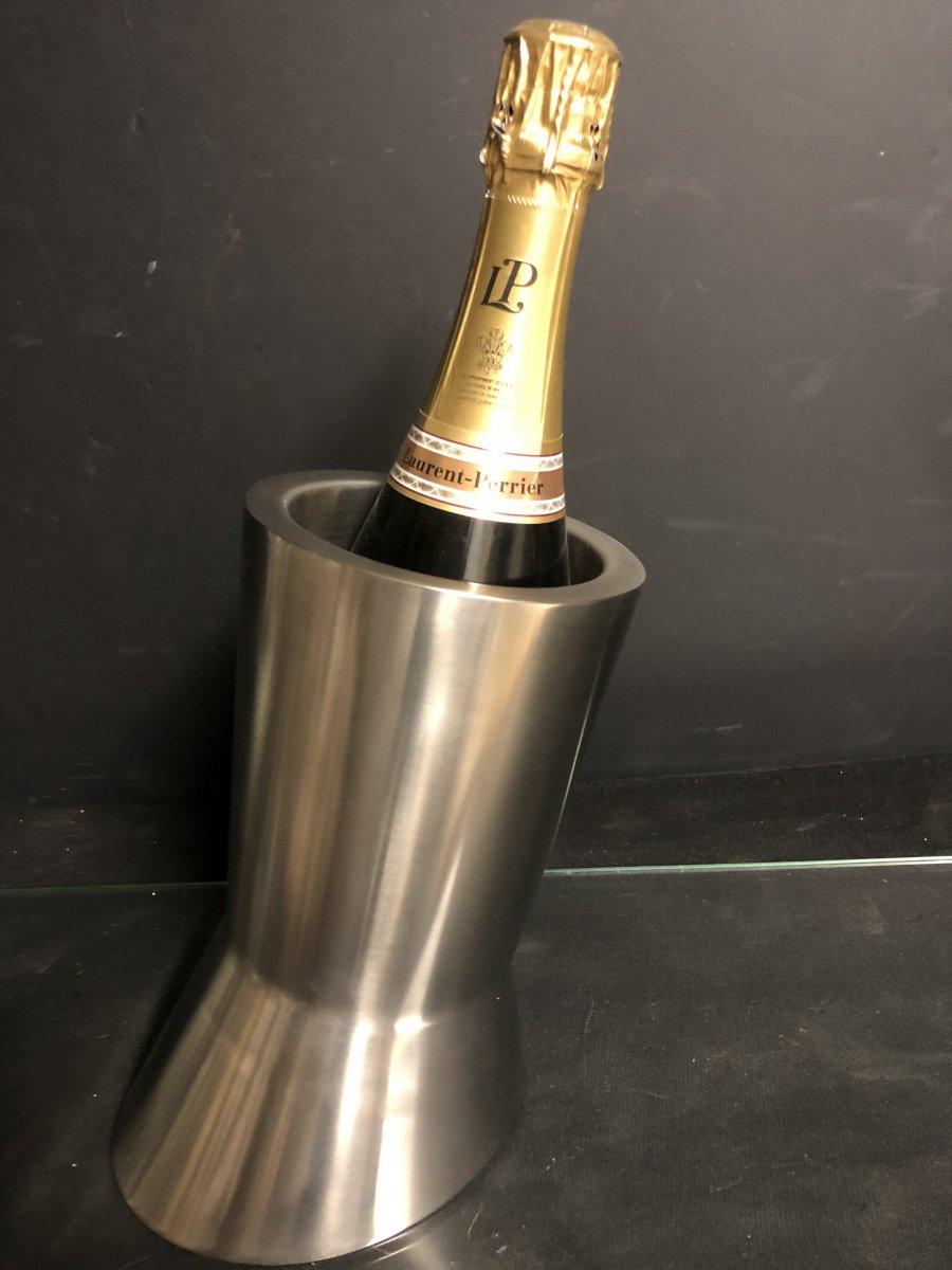Seau à champagne Design en aluminium brossé rafraîchissoir 1970-photo-2