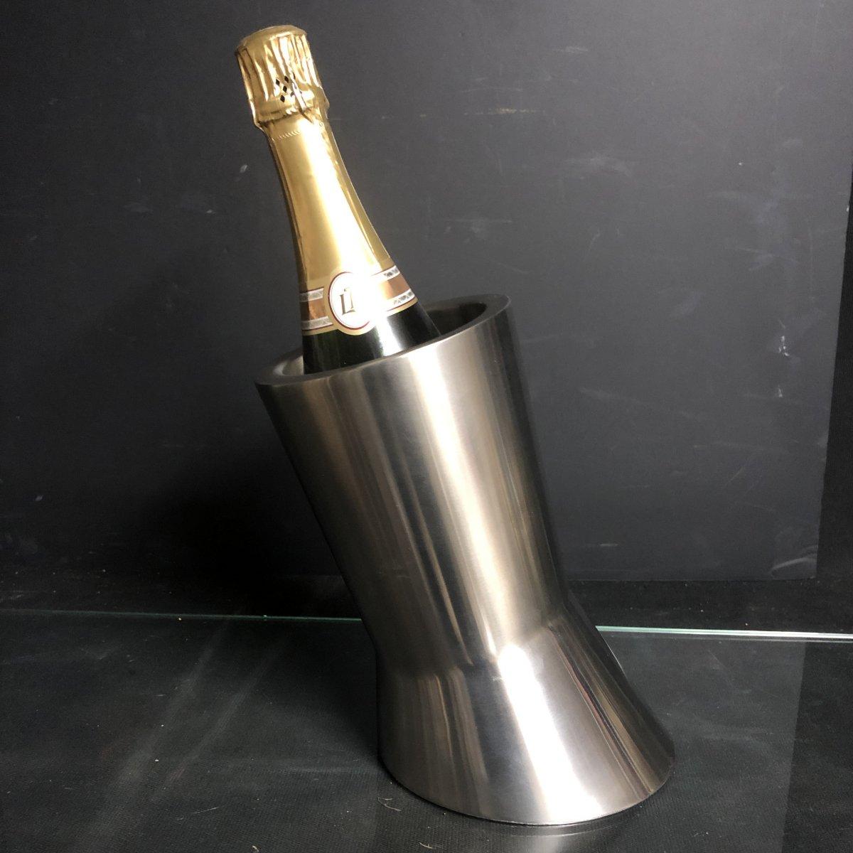 Seau à champagne Design en aluminium brossé rafraîchissoir 1970-photo-5