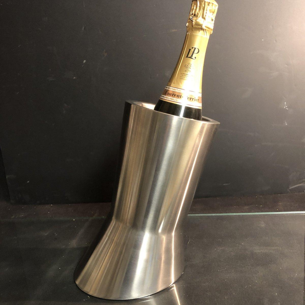 Seau à champagne Design en aluminium brossé rafraîchissoir 1970