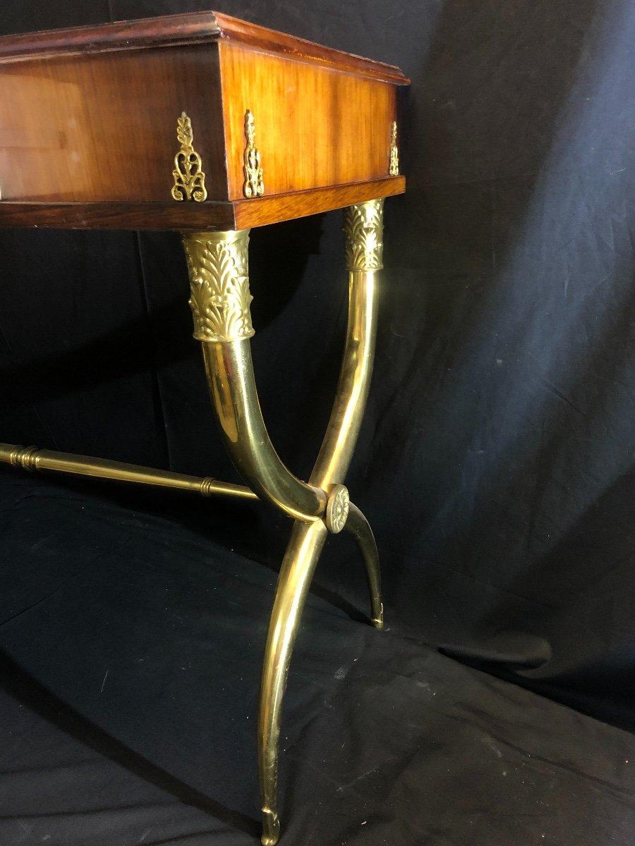 élégant BUREAU dans le goût de Alexandre Louis BELLANGE Pietement en X en bronze doré-photo-2