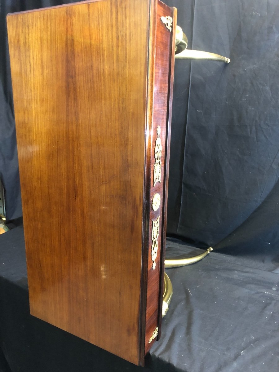 élégant BUREAU dans le goût de Alexandre Louis BELLANGE Pietement en X en bronze doré-photo-4