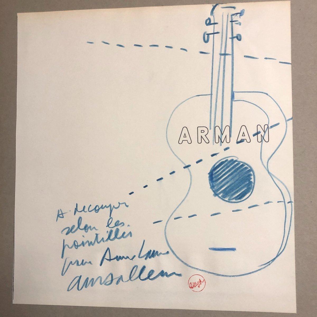 """Fernandez ARMAN 1928-2005 Dessin GUITARE BLEUE signé """" à découper selon les pointillés """""""