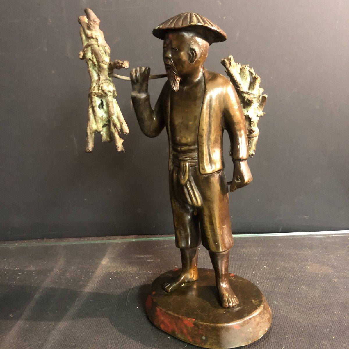 INDOCHINE Bronze fin XIXe Porteur de fagots  25 cm Vietnam Asie