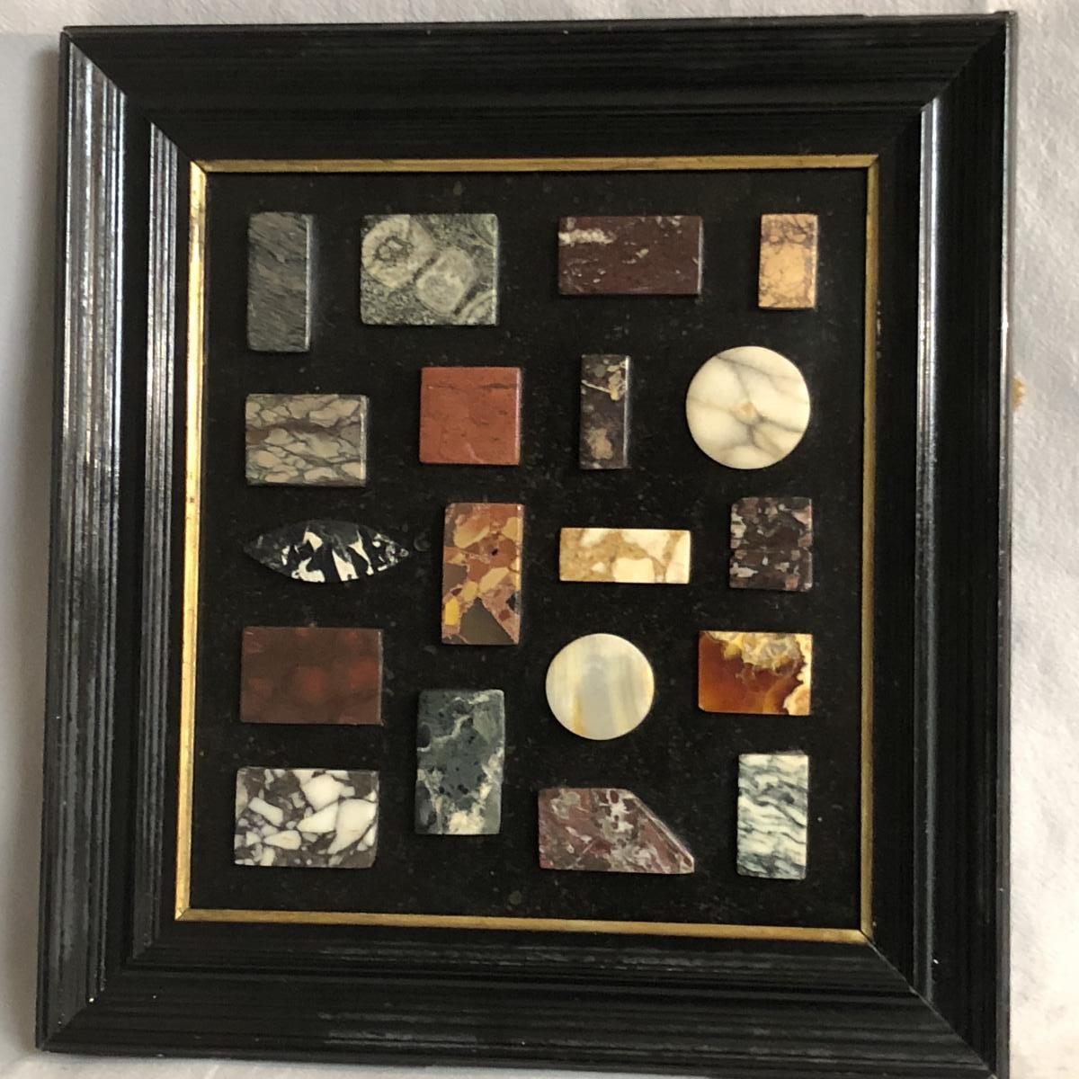 RARE CADRE XIXe avec divers échantillons de marbres Marmothèque Lithothèque