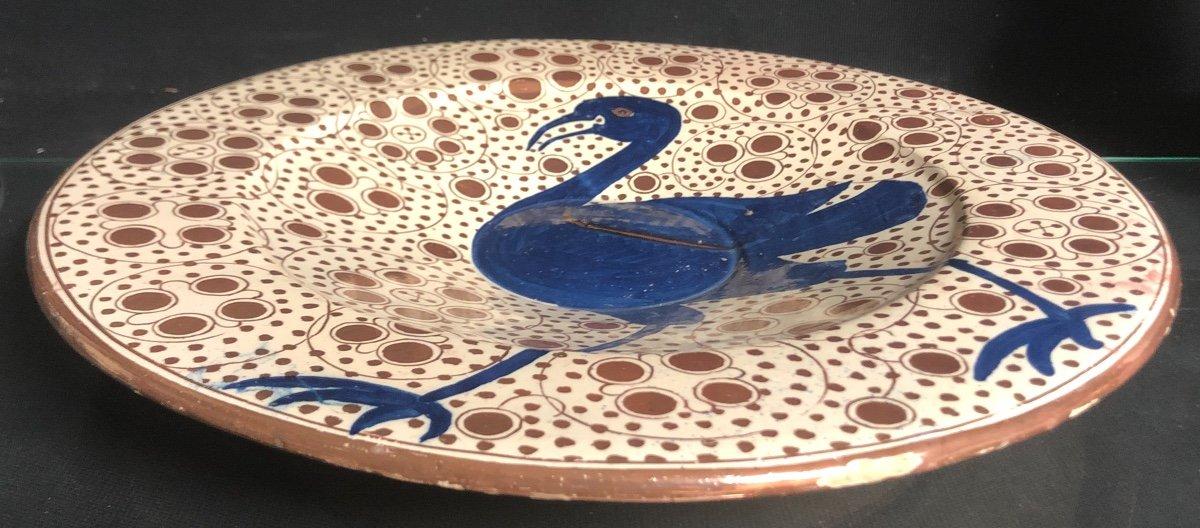 MANISES Grand et ancien plat 40 cm Espagne Oiseau bleu En très bon état-photo-3