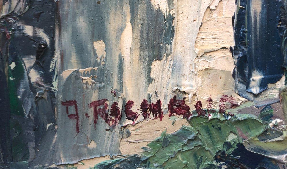 Achille RICHARD 1895-1962 attribué Grande huile PAYSAGE À LA MAISON signé-photo-3