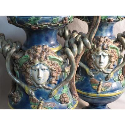 Victor BARBIZET attribué PAIRE DE VASES barbotine XIXe Ecole de Paris decor serpents