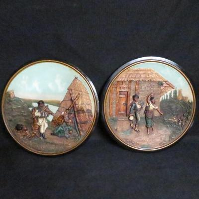 Johann Maresch Pair Of Plates Plates Pottery Central European Gypsies