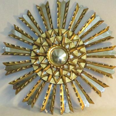 Grand Soleil 57 Cm Mirror Golden Wood Ice Domed Convex