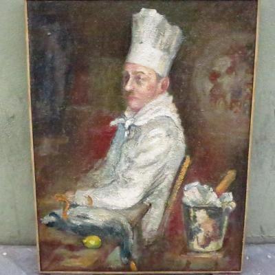 Jean Schweckler Big Oil On Canvas Chef Cook Restaurant 110 X 85 Cm