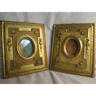 PAIRE DE CADRES porte photo style LOUIS XVI XIXe stuc doré photos miroir