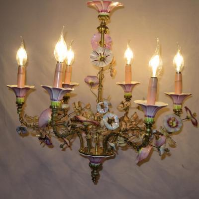 Rare LUSTRE AUX LISERONS XIXe bronze porcelaine et verre