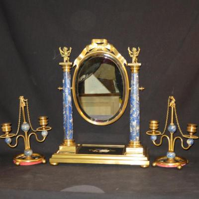And Psyche Nineteenth Candlesticks In Bronze And Lapis Lazuli Putti Putti Egyptian Pedigree