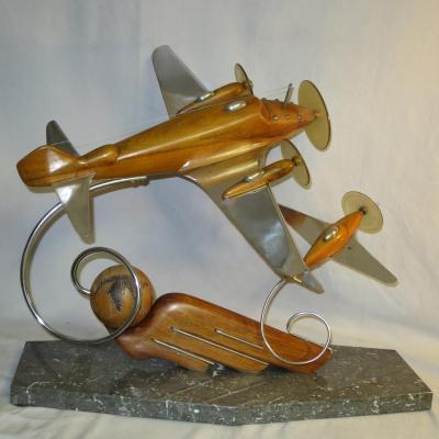 SCULPTURE Art Deco AVIONS Hispano-Suiza escadrille des cigognes aviation
