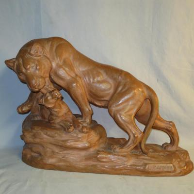 Louis CARVIN GRANDE SCULPTURE Terre cuite LIONNE ET LIONCEAU Art Deco