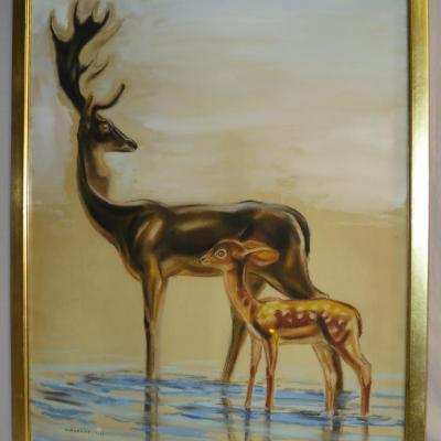 André Margat Grand Pastel And Gouache Deer And Fawn Art Deco