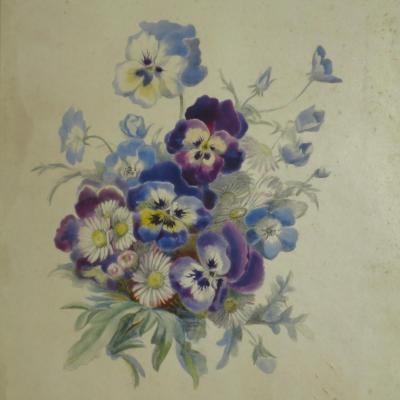 Alphonse GIROUX et Cie AQUARELLE SUR VELIN XIXe fleur Pensée