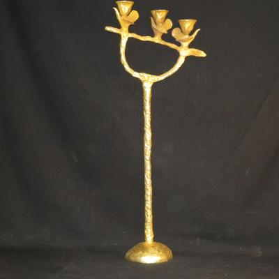 Pierre CASENOVE bougeoir triple oiseaux en bronze doré 71 cm FONDICA candelabre lampe