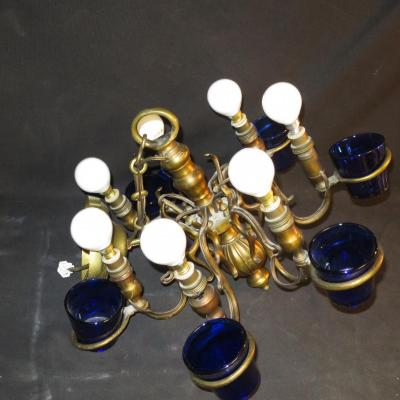 LUSTRE DE SYNAGOGUE XIXe en bronze doré à 7 branches