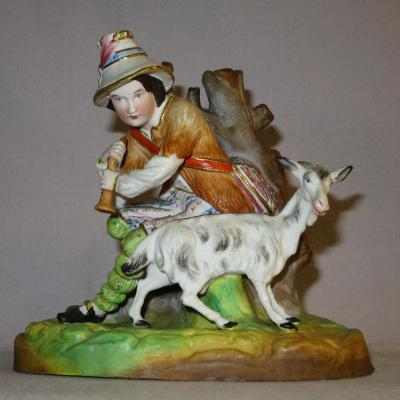 BERGER NAPOLITAIN porcelaine polychrome XIXe Naples