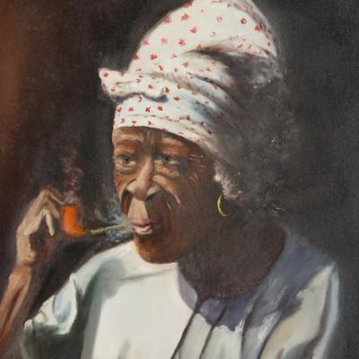 Louvreture Poisson (1914-1985) Haiti Large Oil On Canvas Woman At The Pipe