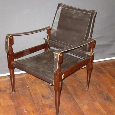 Kaare KLINT fauteuil SAFARI en cuir et palissandre