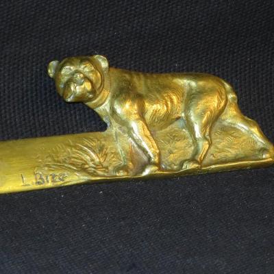 L. BIZE COUPE PAPIER en bronze BOULEDOGUE chien dogue Bronzier Charles GAUTIER coupe-papier