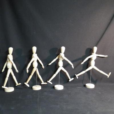 X4 MANNEQUINS D'ETUDE pour artiste en bois articulé mannequin