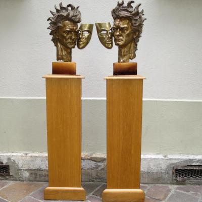 Jean MARAIS énorme paire de sculptures BRONZE AUTOPORTRAIT sur leurs gaines 179 cm signé