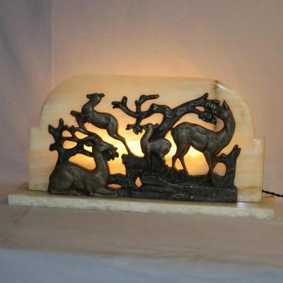 LAMPE ART DECO bas relief cerf et biche en TBE