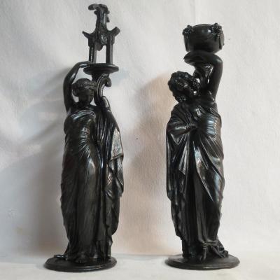 James PRADIER (1790-1852) 2 porte-torchères en bronze Fondeur SUSSE