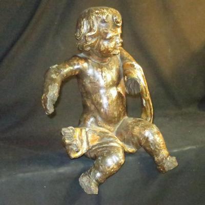 GRAND PUTTO en bois sculpté XVIIIe chérubin avec traces de dorure putti ange
