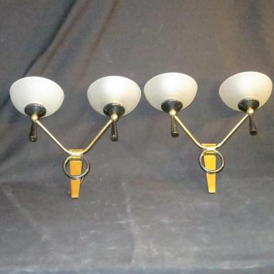 Pair Of Double Wall Sconces Art Deco In Bronze And Brass Applique 1950