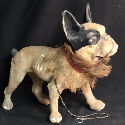BOULEDOGUE 1930 à tête mobile aboyeur grand jouet de salon chien bulldog