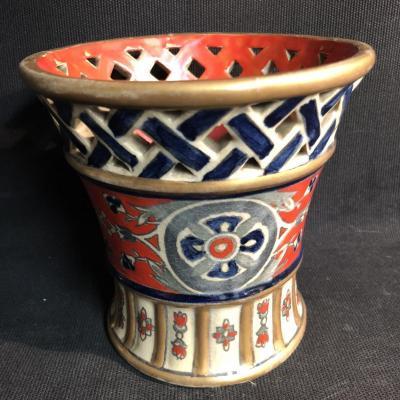 Faience Alfred RENOLEAU vase Art Deco en céramique émaillée et ajourée