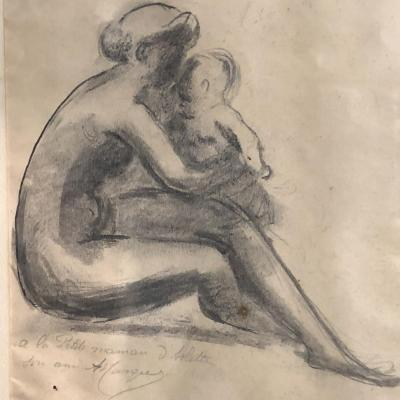 Albert MARQUE (1872-1939) Dessin fusain Maternité