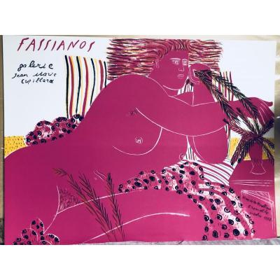 Alecos FASSIANOS Grande sérigraphie originale 1982 Artiste Grec ETAT NEUF