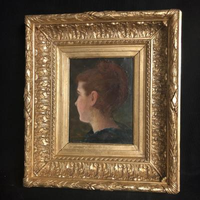 Lella Ramsay Lamont Nineteenth Oil On Canvas Head Of Woman 3/4 Exhibition