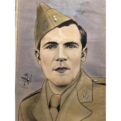 L. DOLL 1945 BEAU MARIN pastel et aquarelle homme militaire