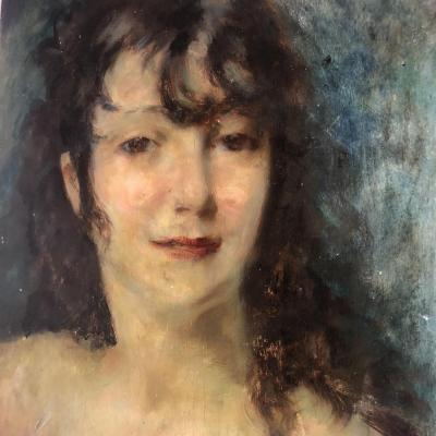 Lucien Henri GRANDGERARD 1880-1970 JEUNE FEMME huile sur panneau Grandgérard Nancy Lorrain