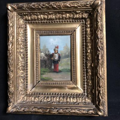 Oil On Panel Nineteenth Child Disguised As A Soldier Signed