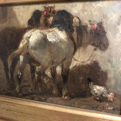 Charles Jacque 1813-1894 Oil On Panel Horses And Hen Signed Nineteenth Horse