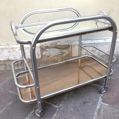 TABLE DESSERTE ROULANTE TROLLEY ART DECO bar roulant plateau amovible