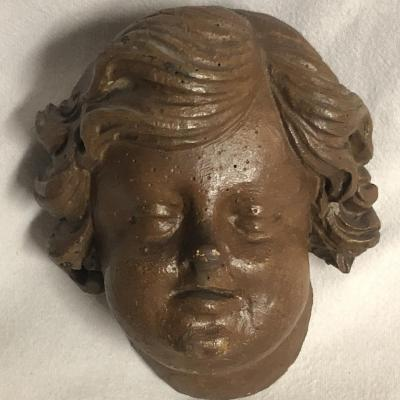 Head Of Ange Carved Wood 18th Century Head Putti 18th