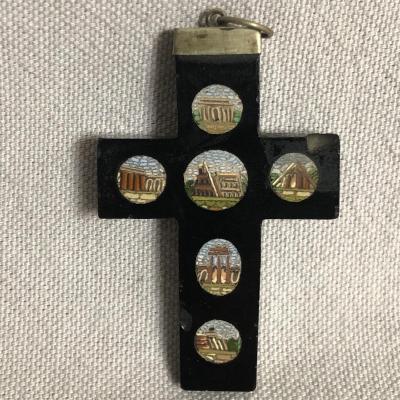 Cross In Micro Mosaic Nineteenth 5.8 Cm Decor Roman Temple Micromosaic