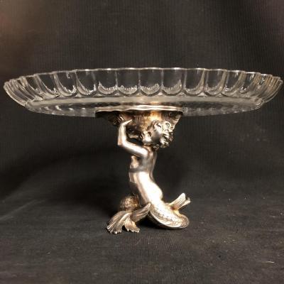 CHRISTOFLE coupe centre de table XIXe en bronze et cristal Baccarat présentoir