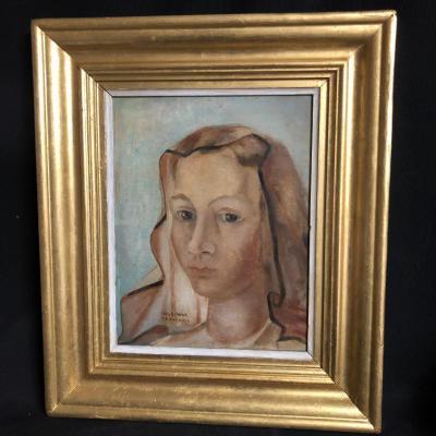 Josephine BEAUDOUIN huile sur carton buste femme Surréaliste