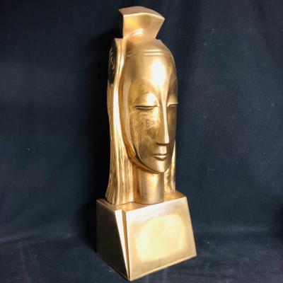 Gustave Miklos 1888-1967 (awarded) Queen Head 59 Cm Golden Ceramic