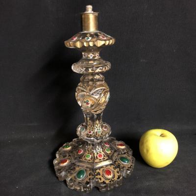 PIED DE LAMPE XIXe en cristal facetté émaillé et doré Turquie Ottoman Kadjar
